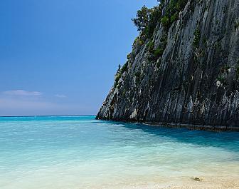 Pláž Xygia Beach u Limni Keri na řeckém Zakynthu