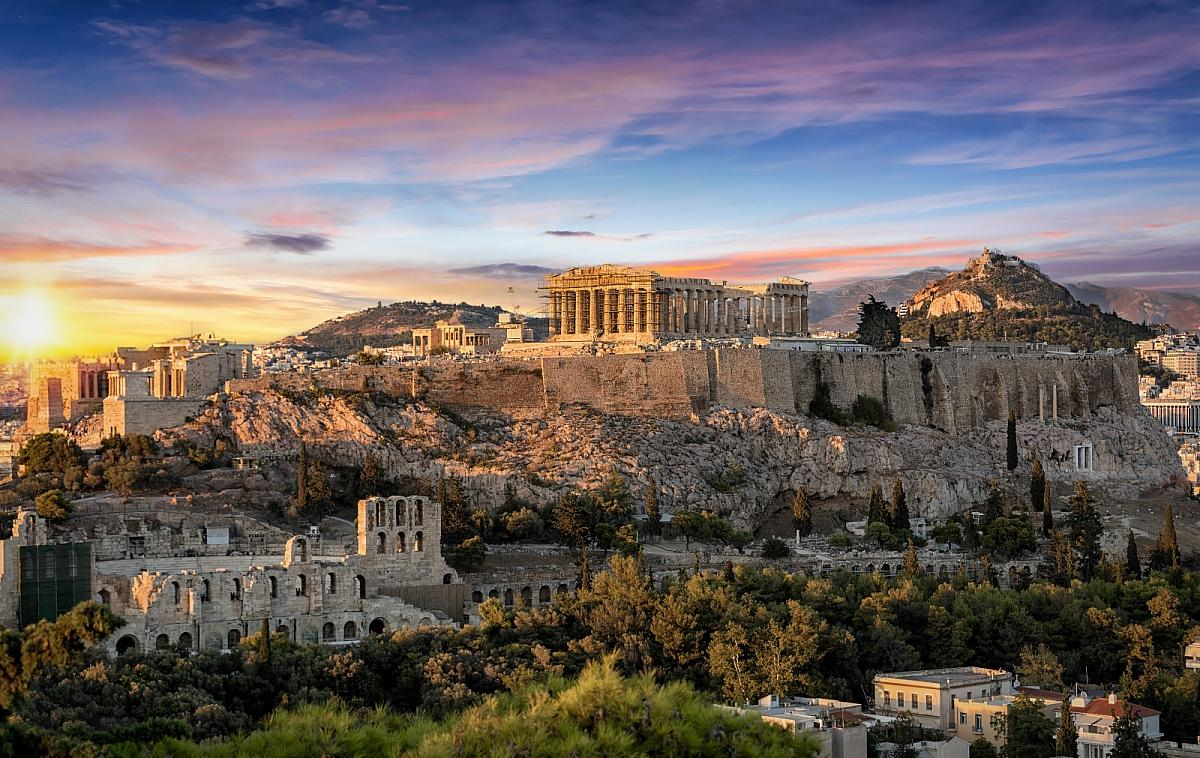 Atény, Akropole při západu slunce